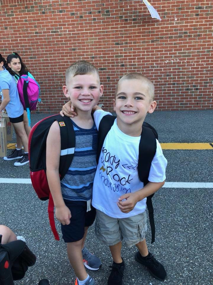 Dylan, left, and Jake on the first day of school at Rhame Avenue.