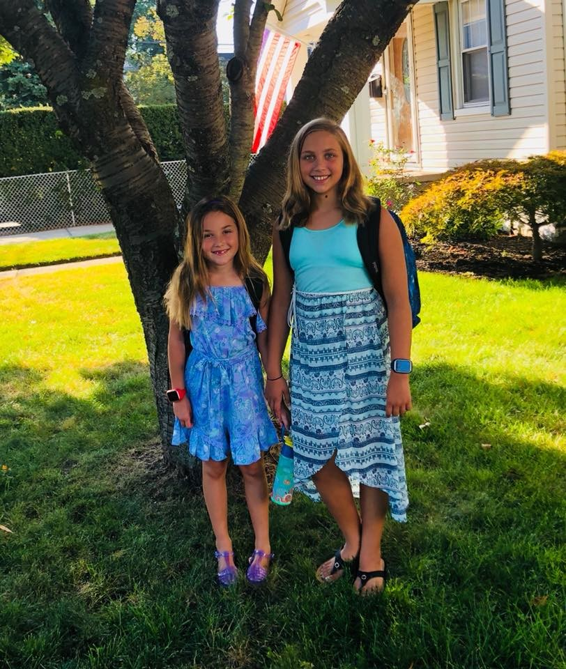 Kylee, left, and Caitlin Kulins before school.