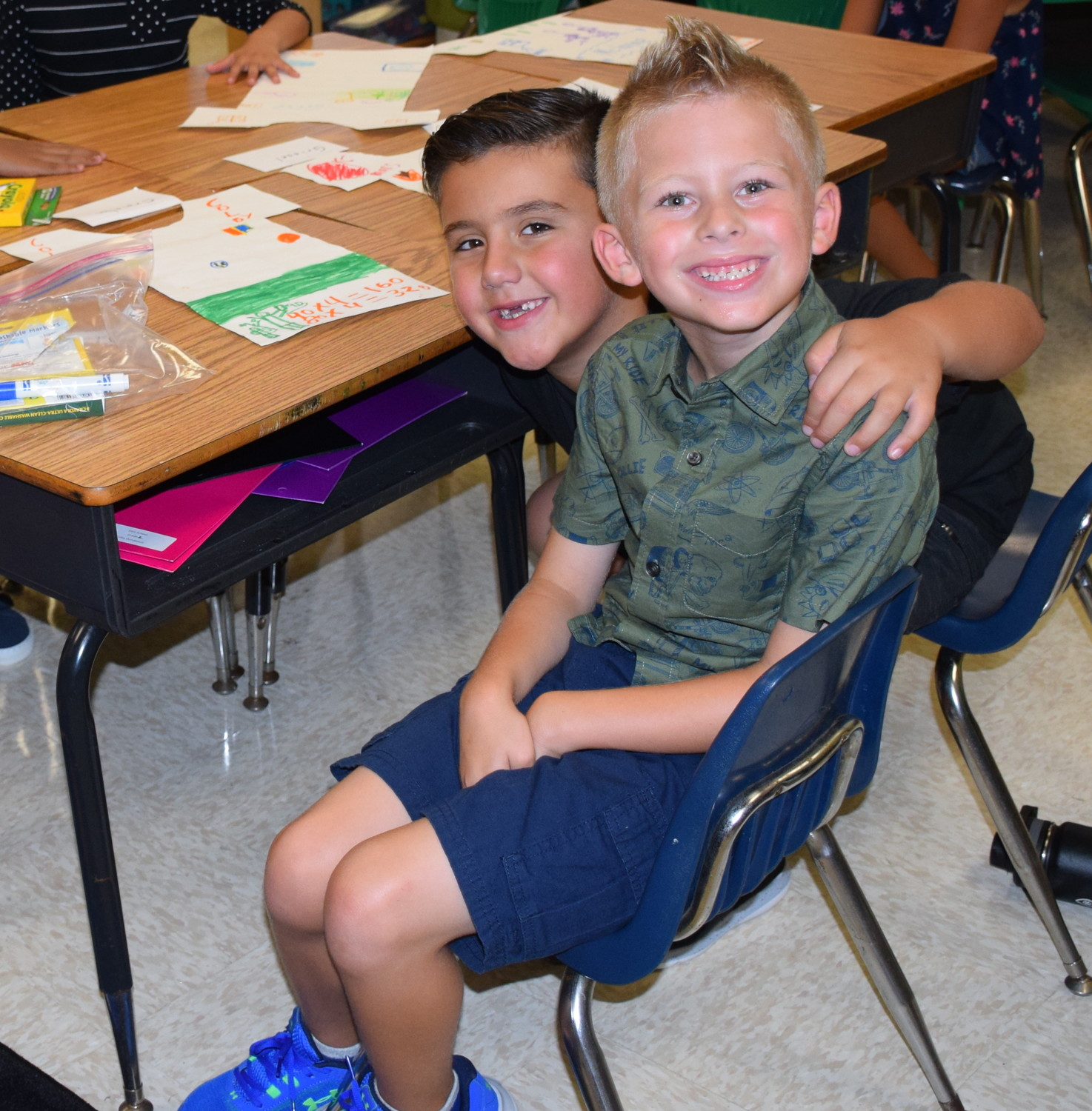 Daniel Medina, left, and Colby Donaldson met up at East Elementary School on the first day of school.