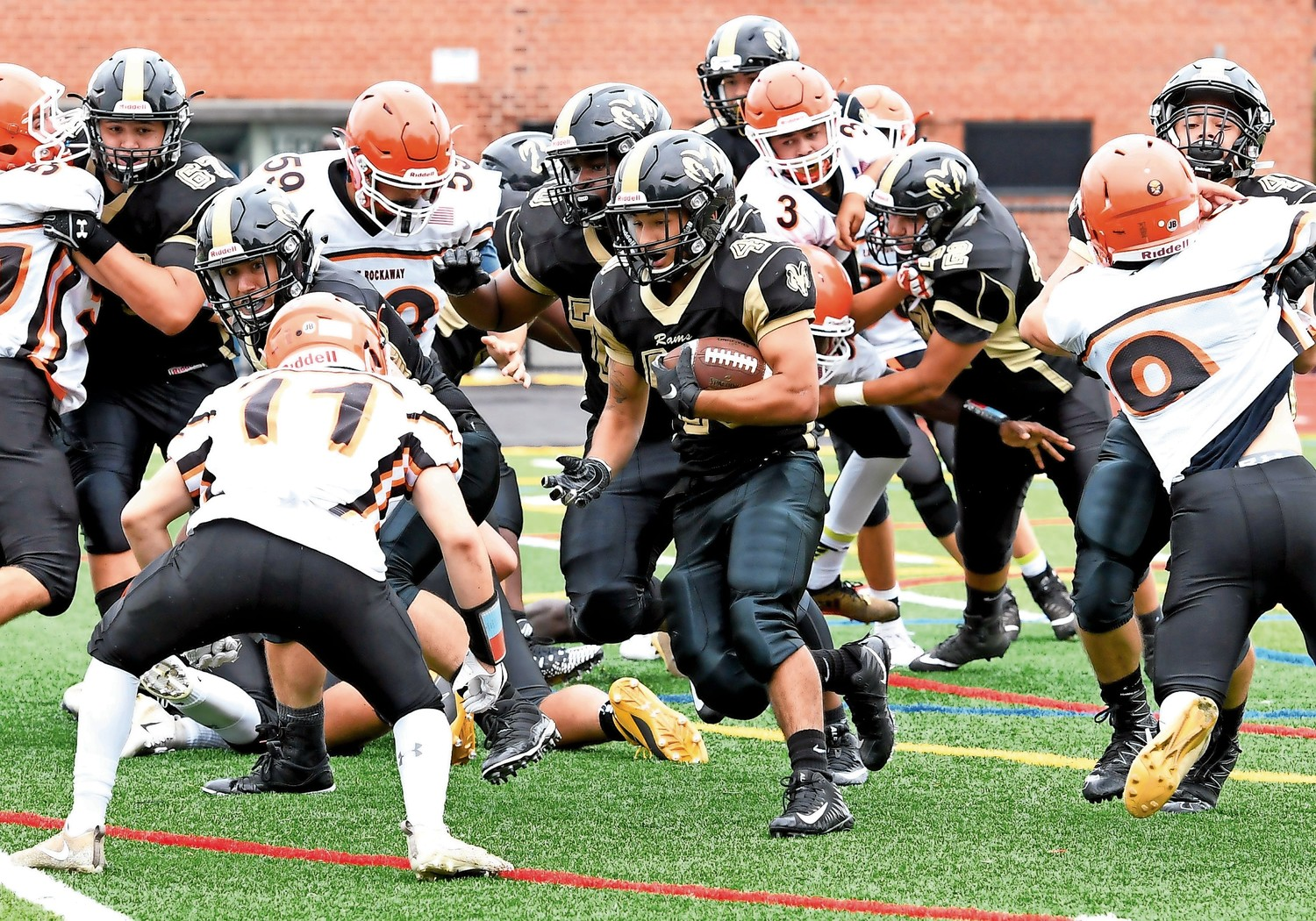 The West Hempstead Rams relied on running on the football in its victory on Sept. 8.