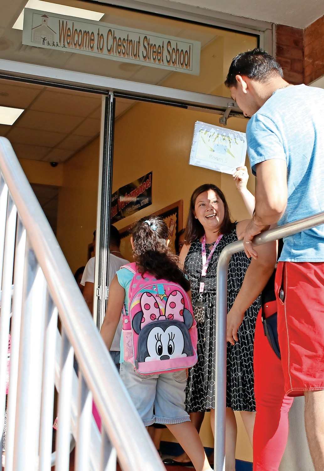 Chestnut Street School Principal Faith Tripp welcomed kindergartners, parents and teachers on the first day of classes in West Hemp-stead on Sept. 5.