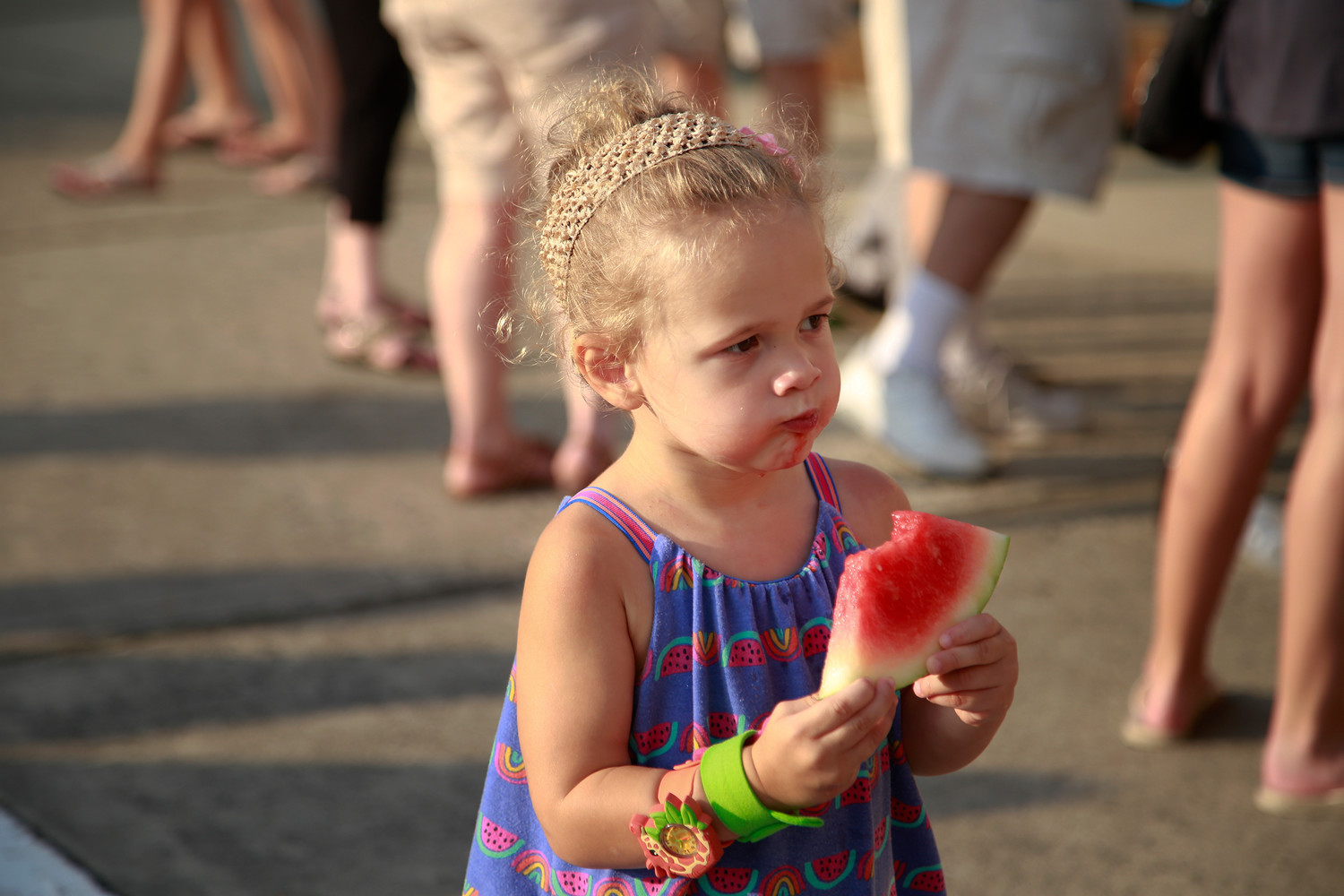 Alessandra Sartori, 2, enjoyed her watermelon.