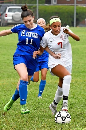 Junior Kayla Camacho, right, is a gifted goal scorer and one of the key pieces to the puzzle for the talented Lady Falcons.