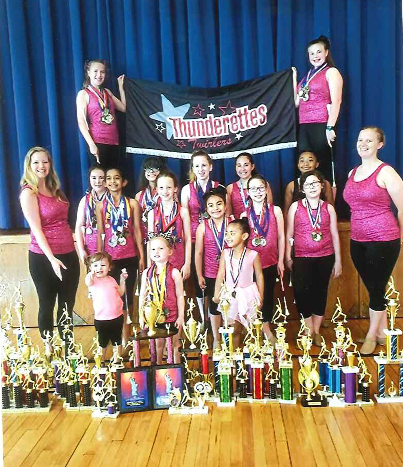 The Grace Thunderettes recently added to their trophy collection with first-place showings in regional and national baton-twirling competitions.