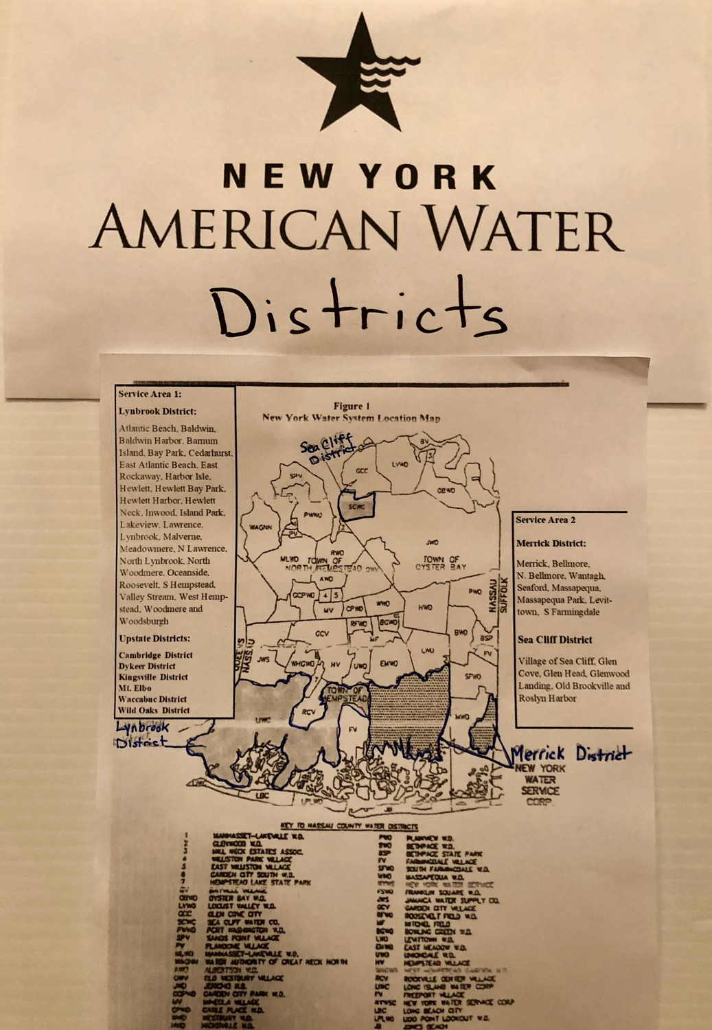 A map of Nassau County's New York American Water districts.