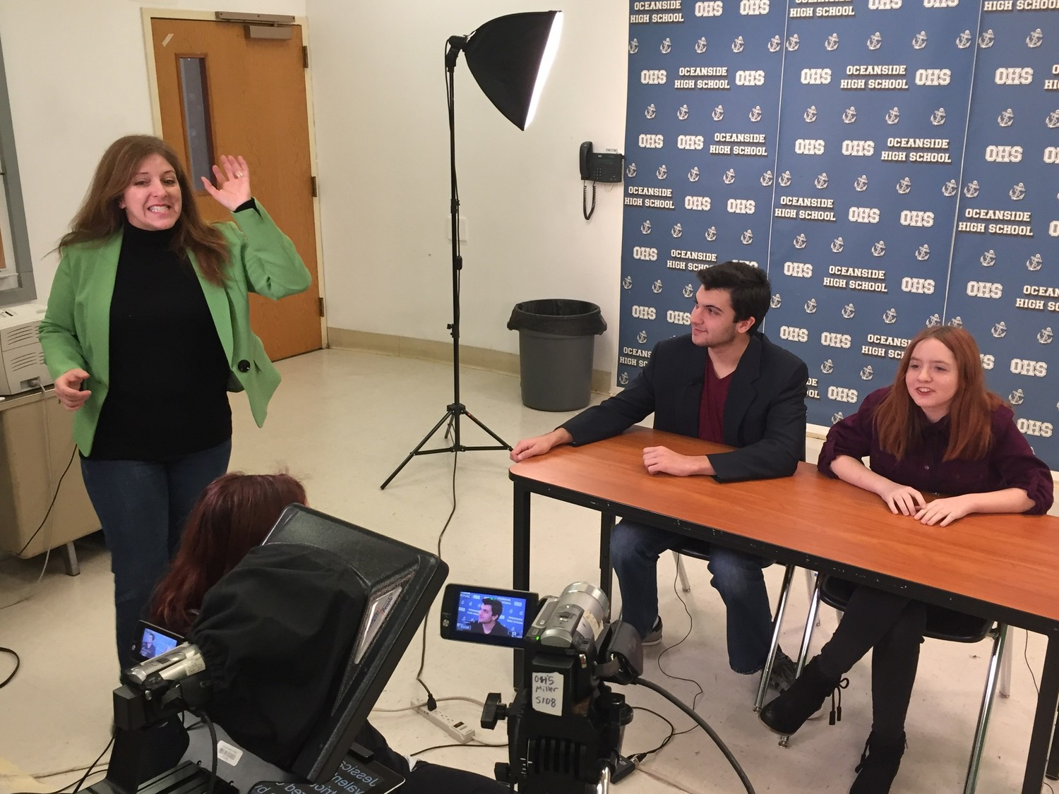 Oceanside High School's media and broacast instructor, Audrey Miller, left, has for years inspired students to pursue careers in their fields.