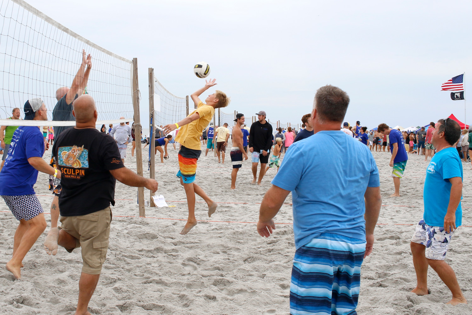 Jay Hyman from Danny's Crew swatted the ball back over the net during the tournament.