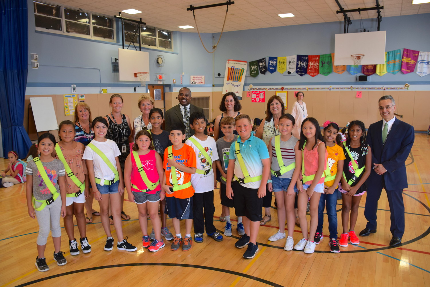 East Meadow Superintendent Dr. Kenneth Card Jr.and Parkway Elementary School Principal Jamie Mack joined to welcome students back on Sept. 5.