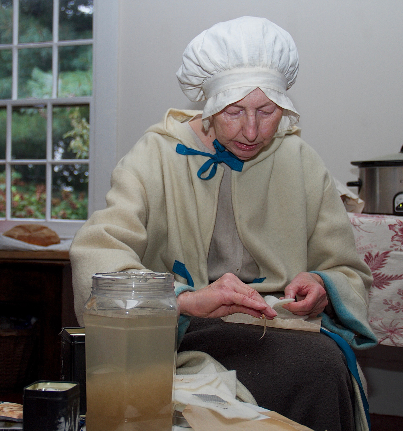 Patricia Roos demonstrated how paper was made in Colonial times at Raynham Hall Museum on Colonial Day.