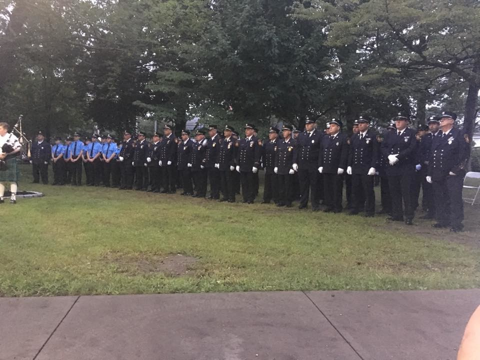 East Rockaway held its 9/11 ceremony Tuesday at Memorial Park, and many members of the East Rockaway Fire Department attended.
