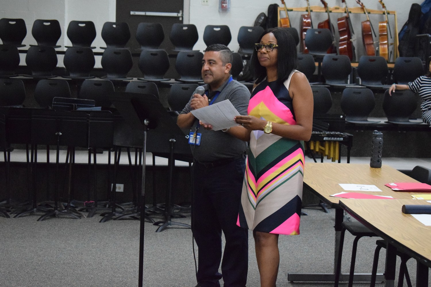 Prospect School Principal Carole Eason, right, spoke to parents about the school's move to Franklin Square with the help of Luis Diaz, one of the Hempstead School District's English as a Second Language teachers.