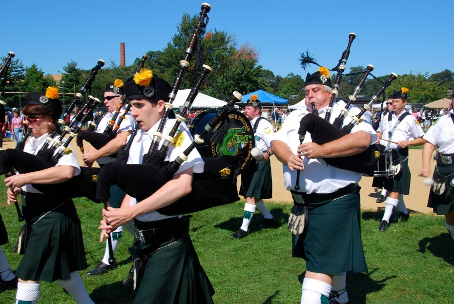 Many bagpipe bands come from throughout the region to entertain and compete.