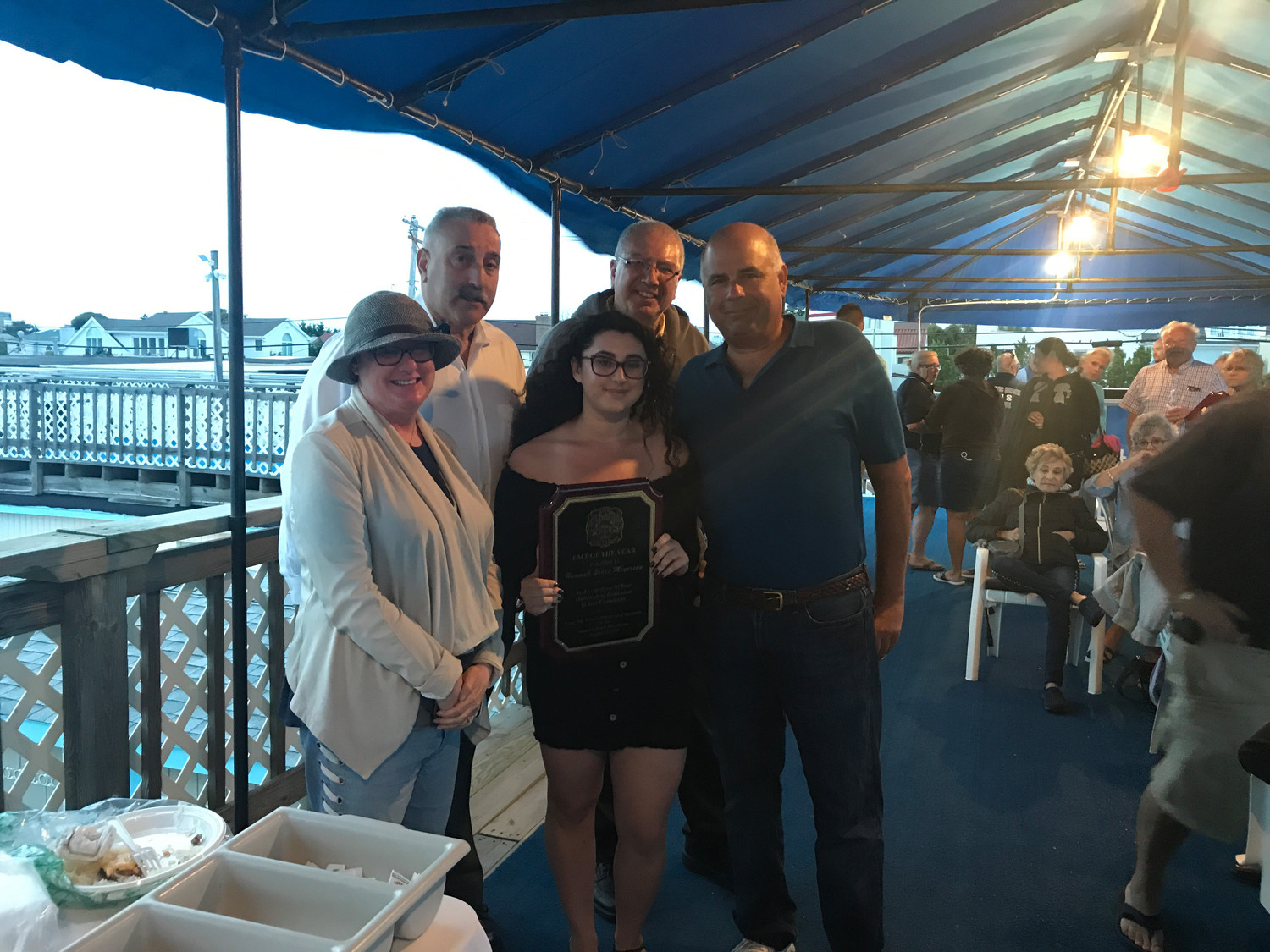 Atlantic Beach Rescue's Chief Robert Erdman EMT of the Year Award was presented to Hannah Grace Meyerson. From left Betsy Meyerson, Assistant Chief Jonathan Kohan, Meyerson, Chief Avi Golan and Village of Atlantic Beach Judge Michael Meyerson.