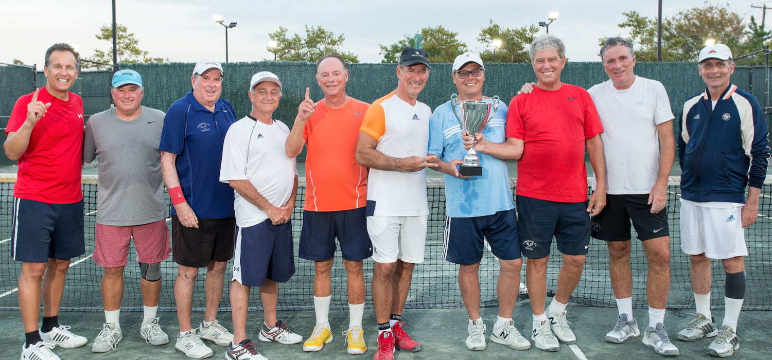 The Lawrence Club's senior men's tennis team won the North Shore Senior League title with a victory over Great Neck. From left Alan Smagler, Paul Wilson, Gary Post, Mark Gutner, Stu Schor, Ron Jackson, Bobby Tehel, team captain Barry Strauss, Dan Chernoff, and Peter Grossman.