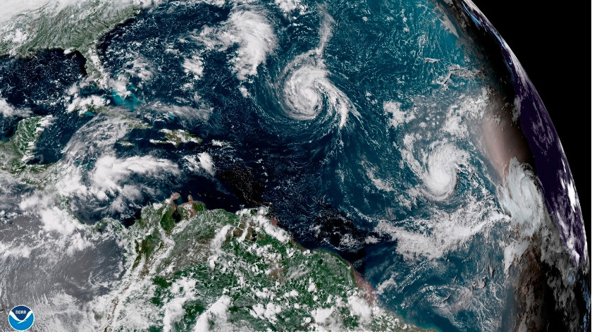 Satellite imagery showing Hurricane Florence barreling toward the United States.