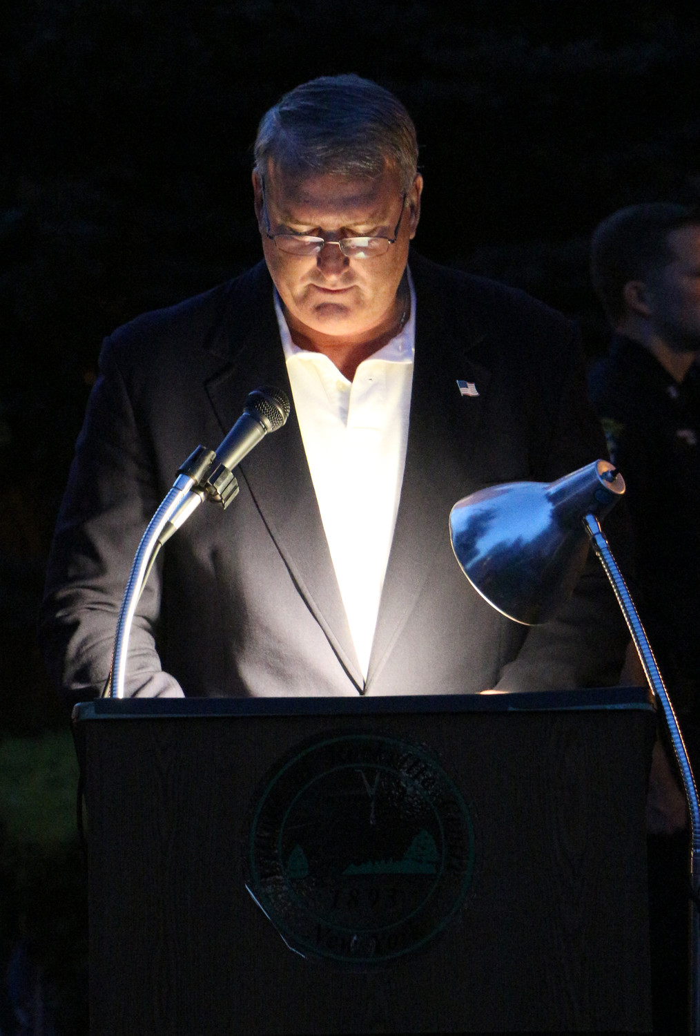 Pat O'Brien, whose brother and brother-in-law died on Sept. 11, 2001, spoke at the village's annual ceremony last Sunday.