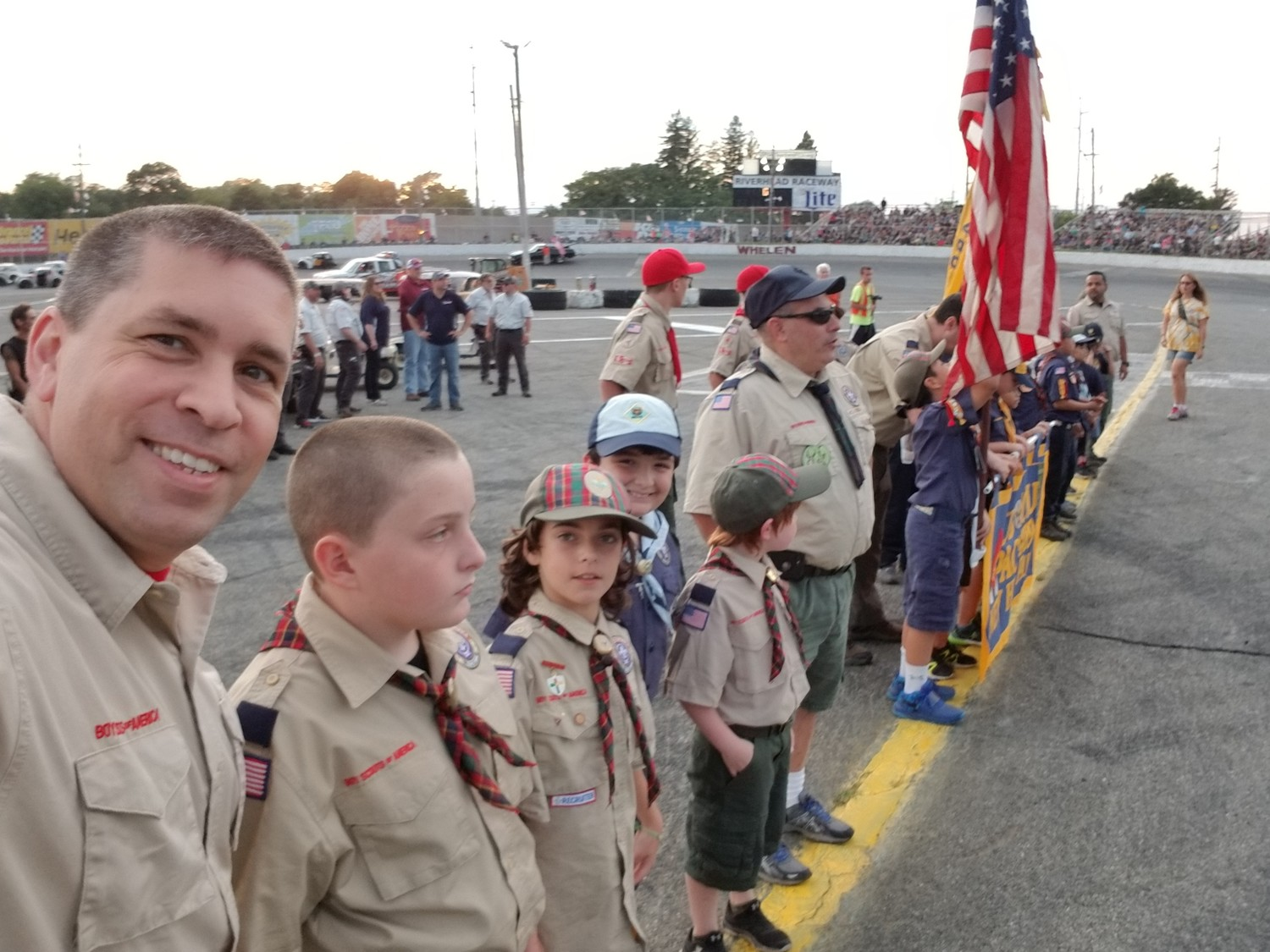 Seaford Pack 581 cub scouts arrive at the annual School Bus Demolition Derby at Riverhead Raceway.