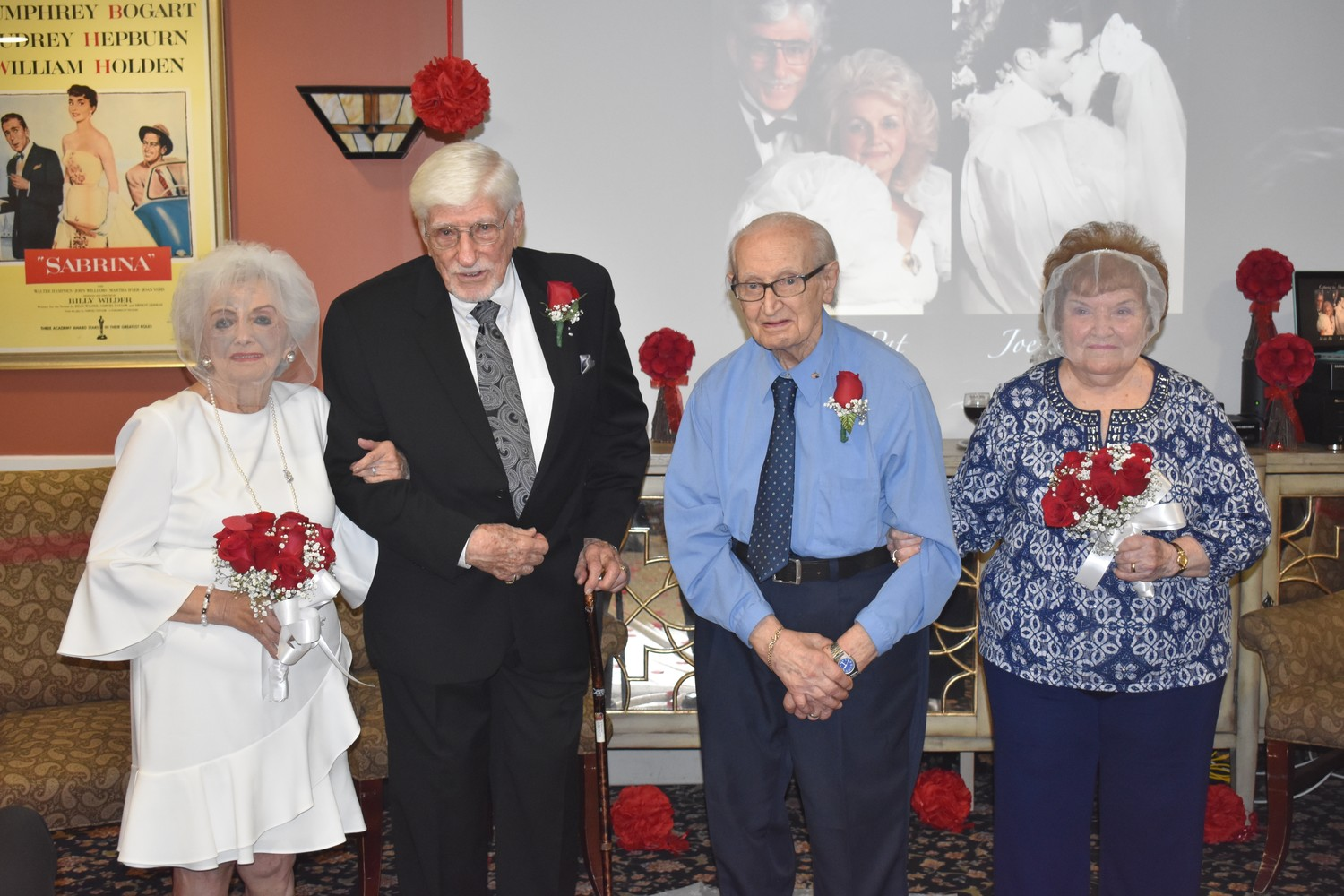 Patricia Saftler, left, and her husband, Arthur, joined Joe Saitta and his wife, Florence, at Maple Pointe Assisted Living Center on Sept. 13 to recreate their weddings.