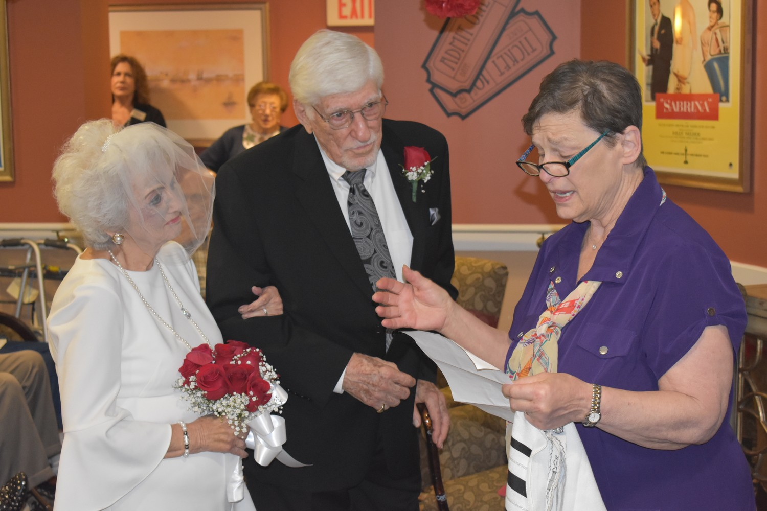 Barbara Prins, right, of Central Synagogue-Beth Emeth, led Arthur and Patricia Saftler in renewing their vows.