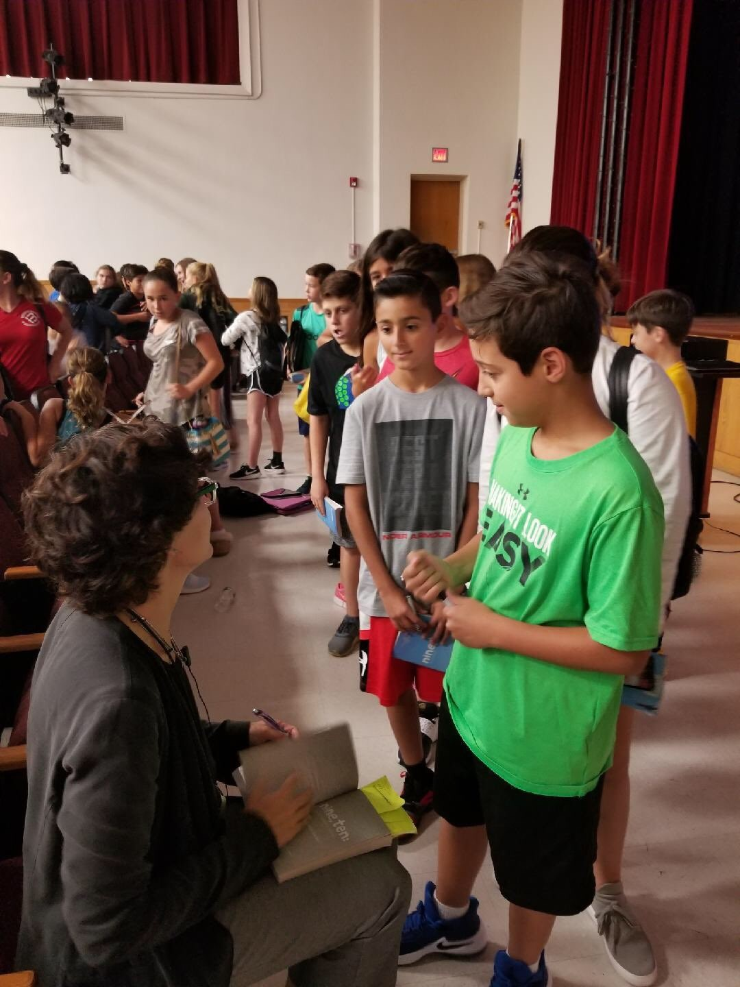 "Nora Raleigh Baskin spoke to the seventh-graders at Merrick Avenue Middle School about her book, ""Nine, Ten: A September 11 Story."""