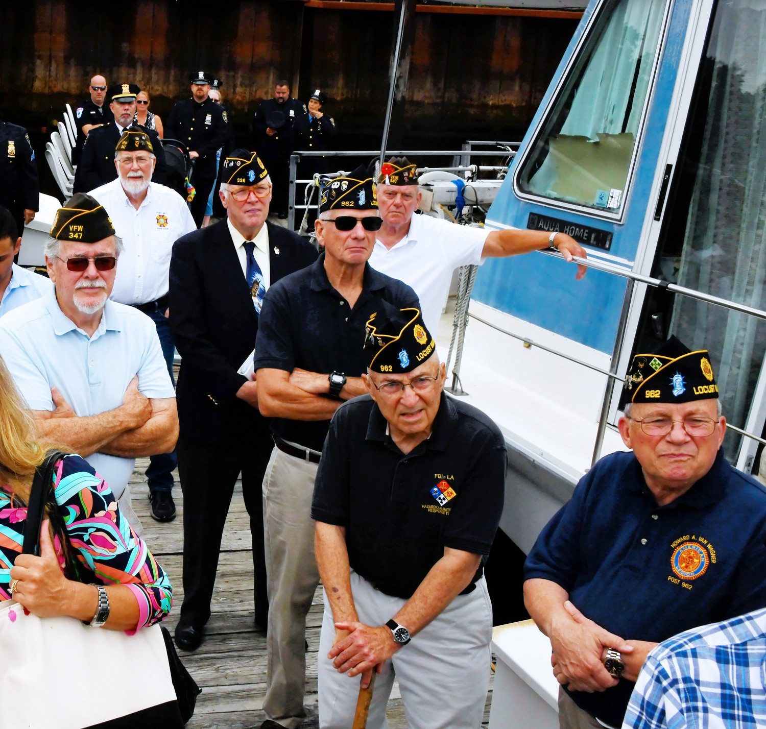 Members of local Veterans of Foreign Wars chapters attended the dedication of the Harbor Patrol boat.