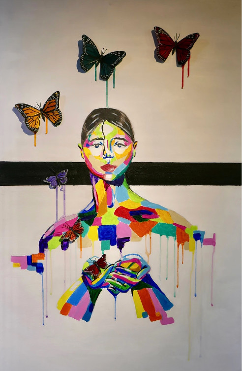 "Hernandez's ""Mariposa"" (""Butterfly"") used feathered butterflies to help animate the painting."