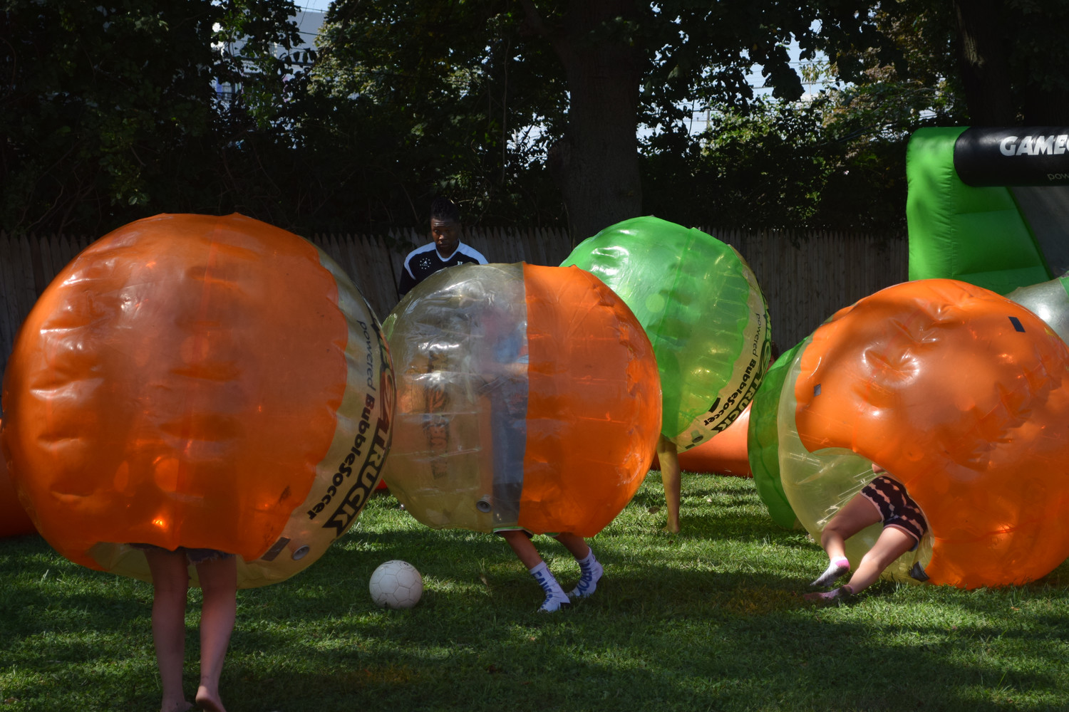 "Brandeis students took to playing ""Bubble Soccer"" where teams of three or four players knocked each other and the ball around."