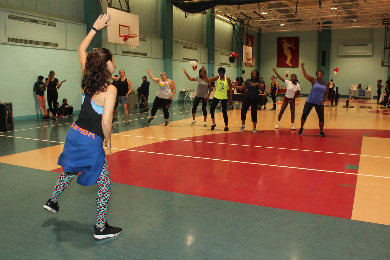 Freeport Recreation Center instructor, Hayat Pineiro, left, led an energetic half hour Zumba class to attendees of the Keep Fit Fun event.