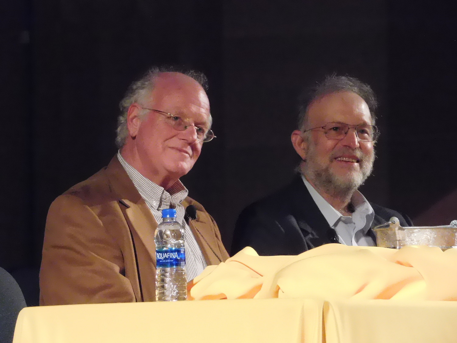 Ben Cohen and Jerry Greenfield on the stage of Adelphi University's Performing Arts Center, sharing the ideals that led to the socially conscious focus of Ben & Jerry's Ice Cream.
