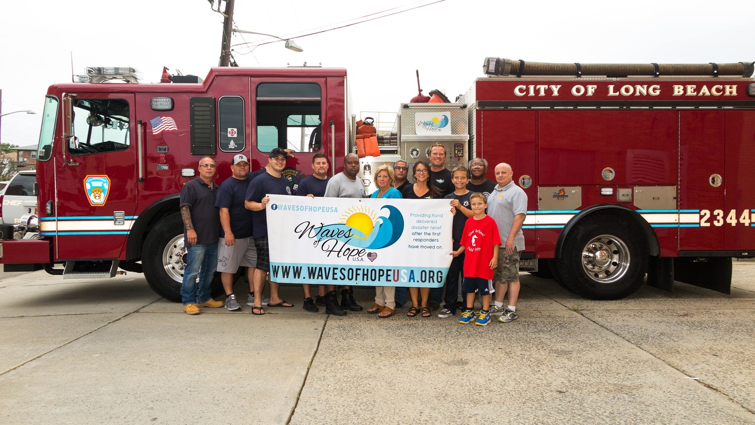 Members of the Long Beach Fire Department and the nonprofit organization Waves of Hope USA launched a relief effort to help Hurricane Florence victims. Above were Assistant Chief Rick DiGiacomo, left, Capt. Dave Rivera, Brandon Bowden, Zach Grunther, Assistant Chief Hadrick Ray, Joan Duffy, Al Rodriguez, Christina Kramer, Tim Kramer, Cooper Kramer, Captain Herman Prophet, Chase Kramer and Chief Joe Miller.