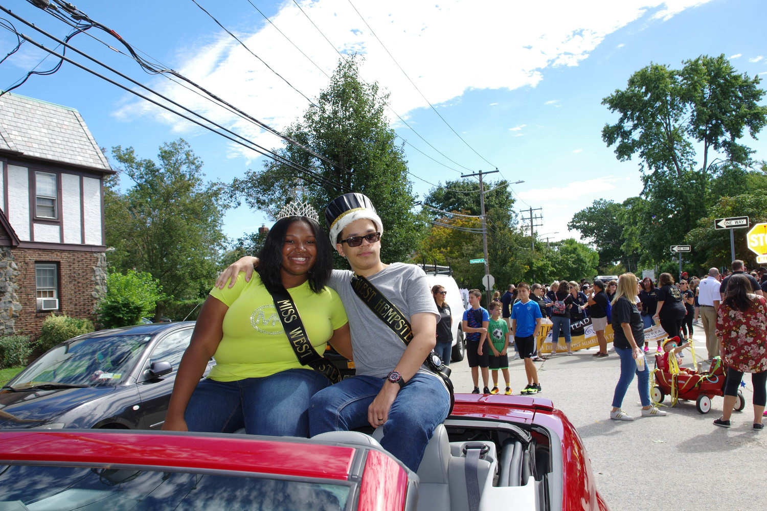 Mr. and Mrs. West Hempstead, Robert Bethune and Autumn Collins, cruised down Hempstead Avenue in a convertible Mustang during West Hempstead High School's Homecoming parade on Saturday.