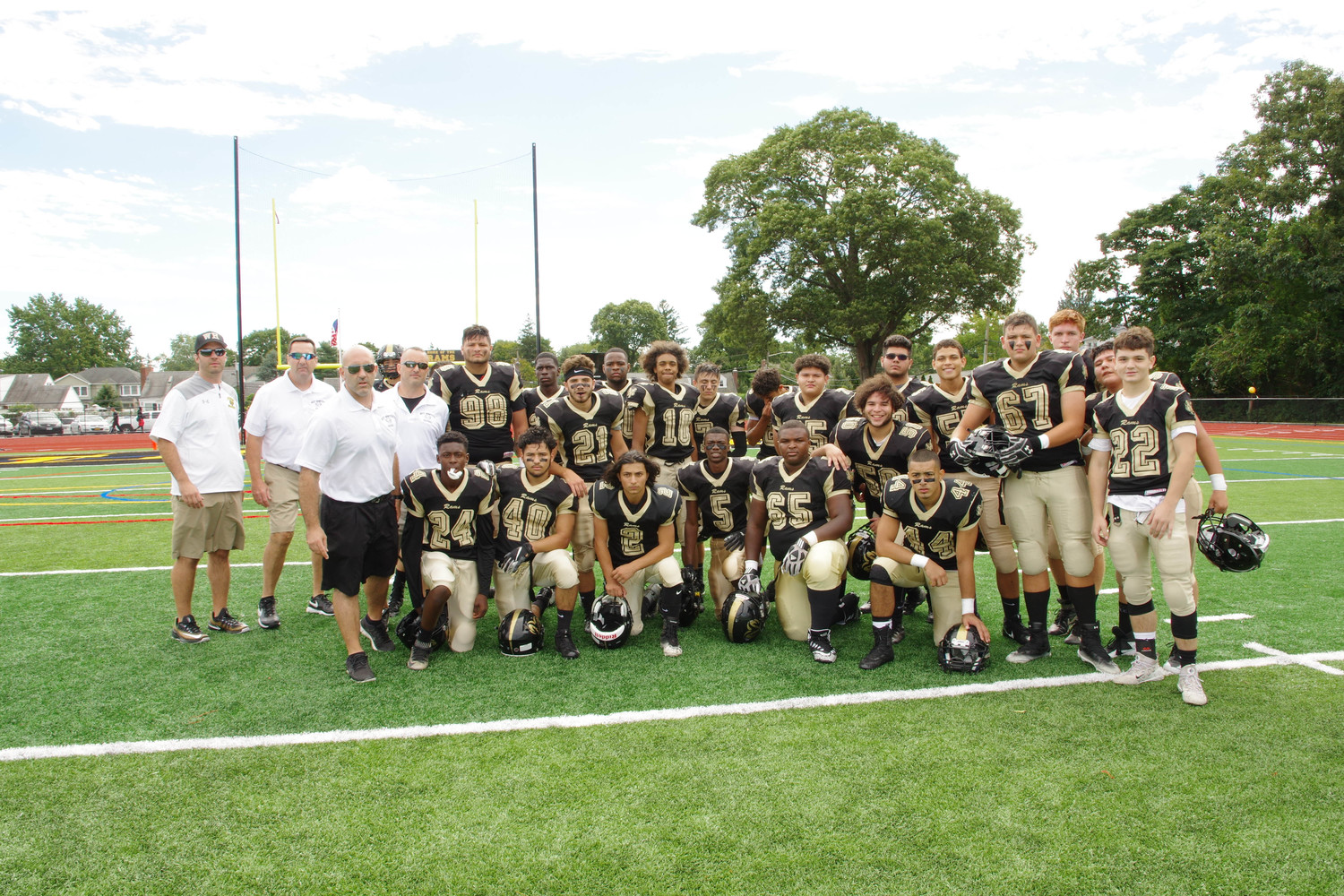The Rams defended their home field with a 32-6 win over Friends Academy.