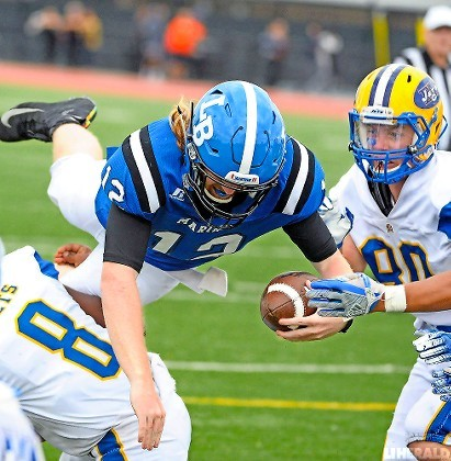 Long Beach quarterback Aiden White came up just short of the end zone early in the fourth quarter of last Saturday's 20-16 loss to East Meadow.