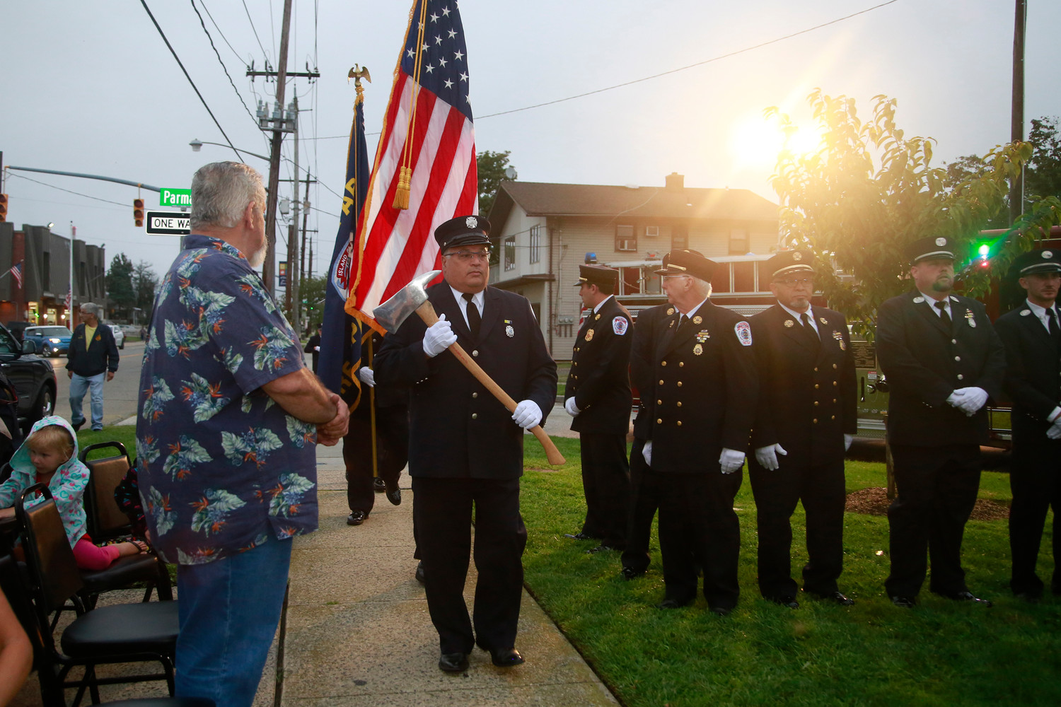 The Island Park Fire Department presented the colors.