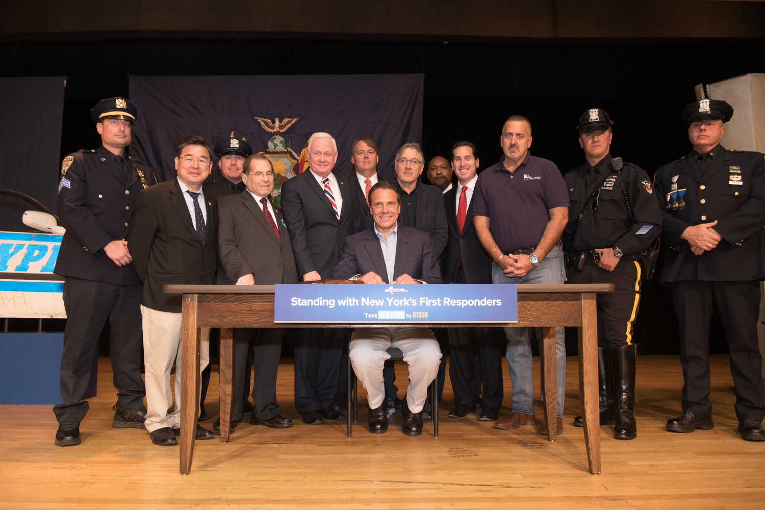 Gov. Andrew Cuomo signed a bill last year to grant unlimited sick leave to all government workers outside New York City who responded to the World Trade Center attacks on Sept. 11, 2001. He was joined by senators from both sides of the aisle, as well as first responders.