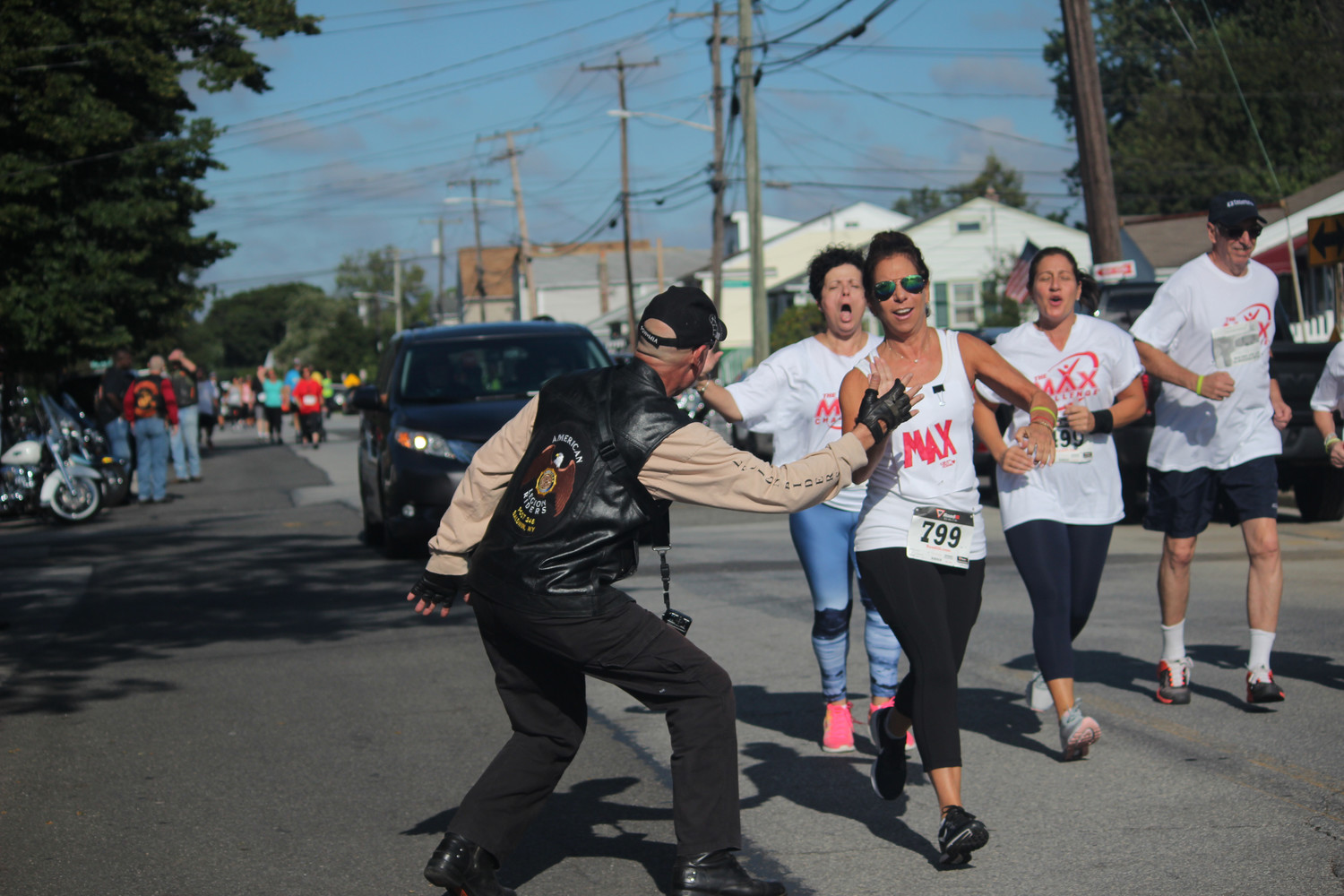 Nearly 200 runners participated in Assemblyman Brian Curran's third annual Run For Heroes 5K, which benefitted many veterans' posts. About 40 of the runners came from the Max Challenge of the Five Towns gym, many of whom were encouraged by the veterans as they ran.