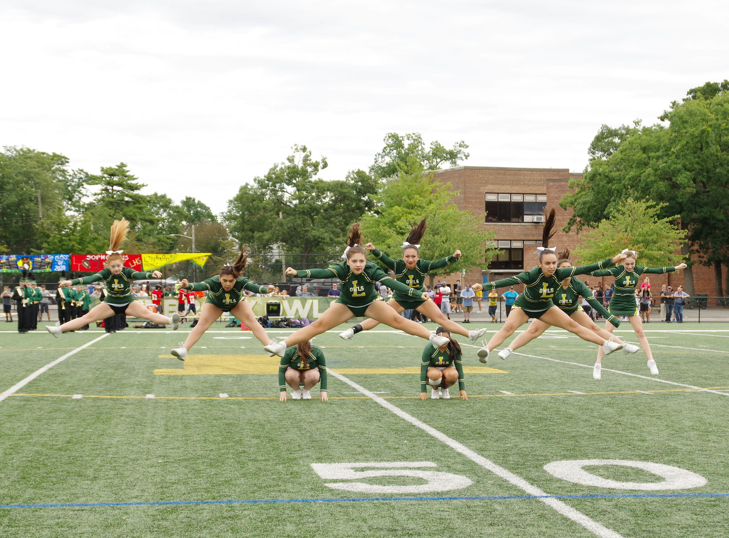 Lynbrook's cheerleading squad was decked in green and gold and dazzled the audience during halftime.