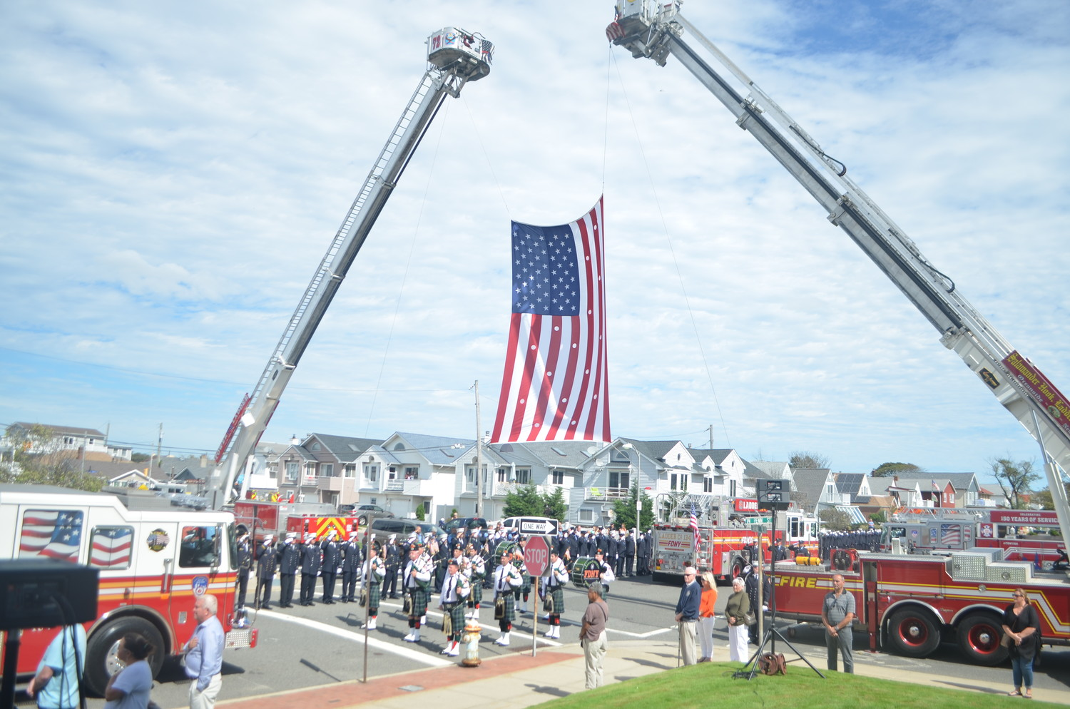 Hundreds of people, including FDNY and local firefighters, lined West Penn Street to honor Elges at his funeral at St. Ignatius Martyr Church last Saturday.