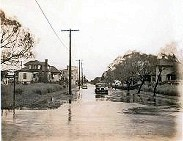 Casino Street looking west, was flooded during the hurricane of 1938.