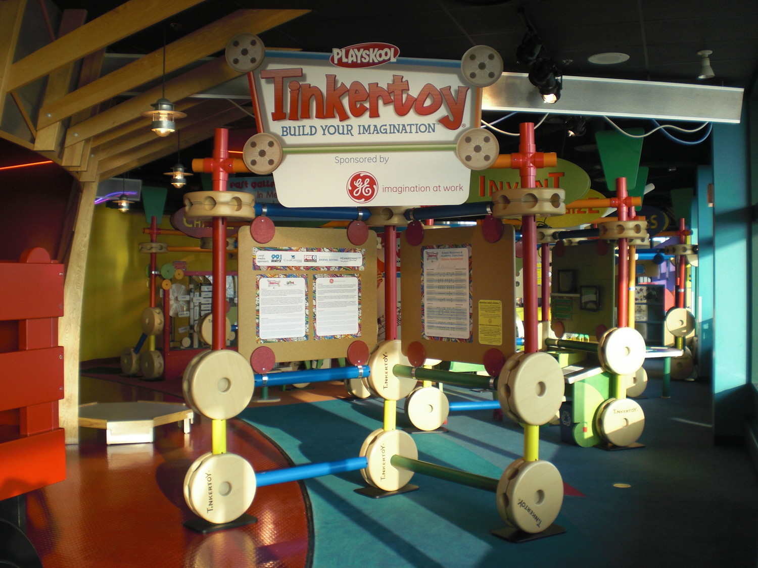 Visitors are inspired to create with Tinkertoy spools, tubes and rods at the newest exhibit to take up residence at Long Island Children's Museum.