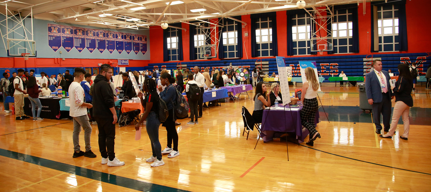 Students filled the Malverne High School gym on Medical Career Day last Friday.