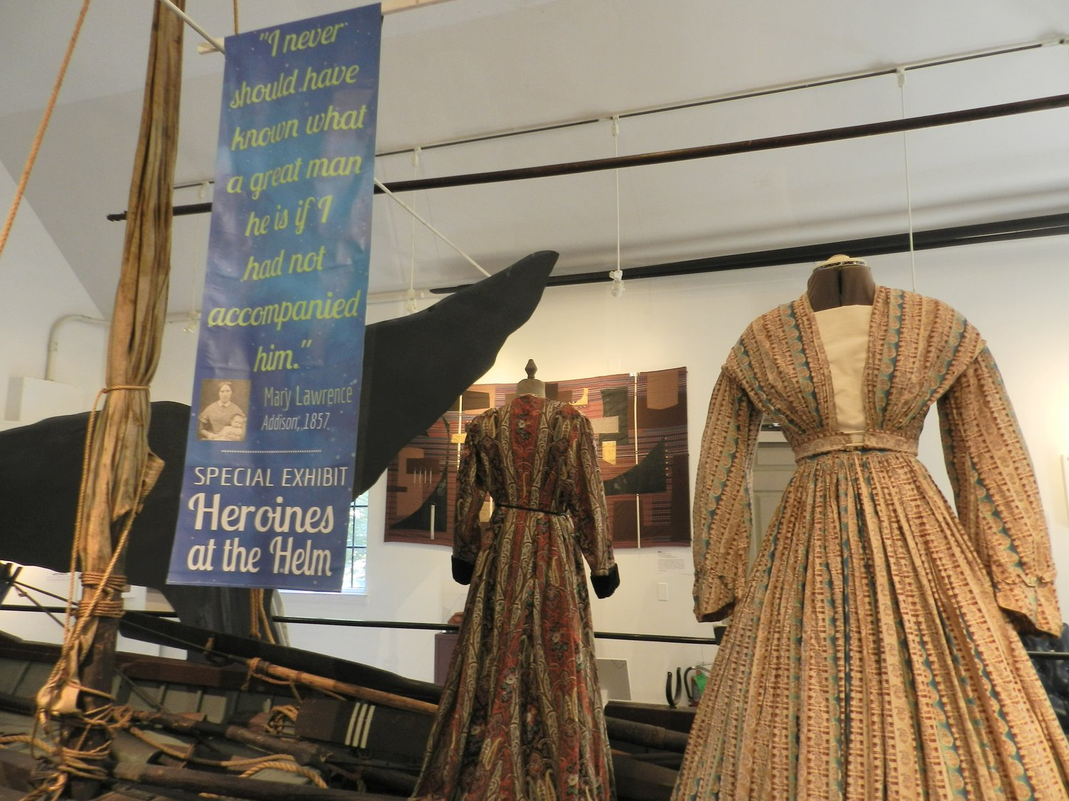 ": ""Whaling wives,"" wore dresses like these when they accompanied their husbands on long journeys during the golden age of whaling."