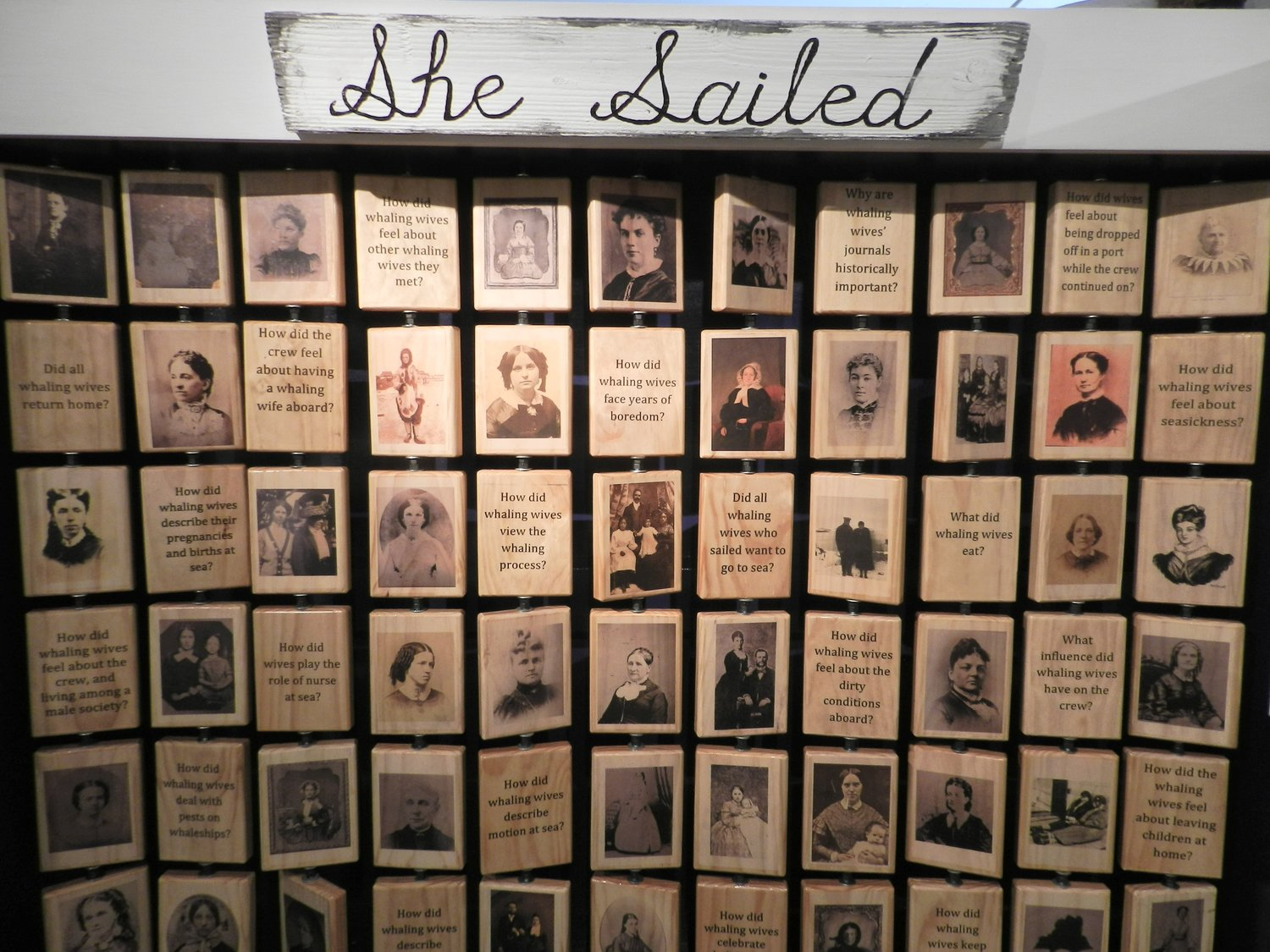 Interactive spin panels give observers insight into what life was like for women while whaling.