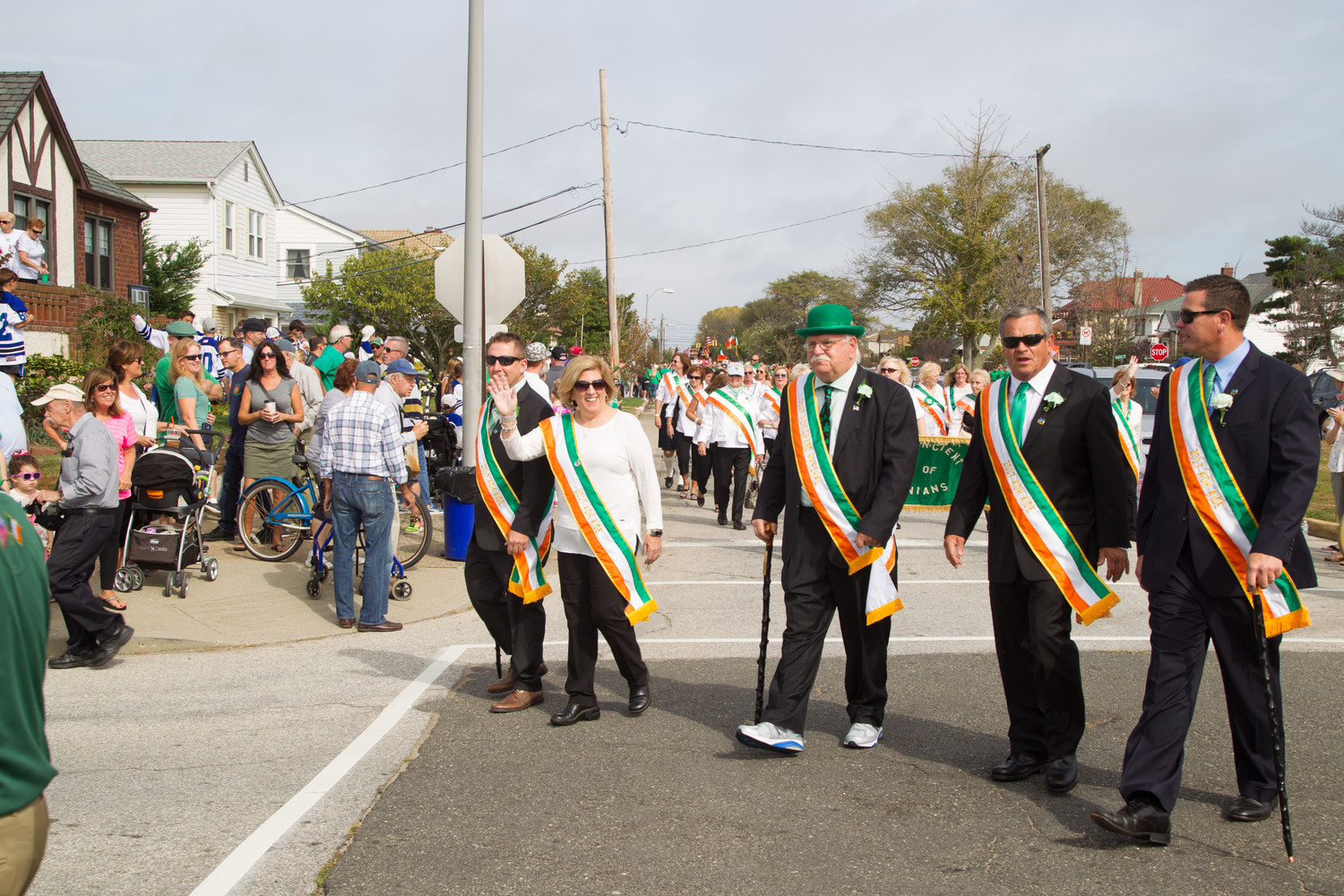 Veterans of Foreign Wars Post 1384 Commander Daniel McPhee, in hat, served as the grand marshal of last year's Saint Brendan the Navigator Irish Heritage Day Parade alongside his aides, AOH members Edward Henry, Joan Duffy, Malachy McGarry and Brian Wheeler.