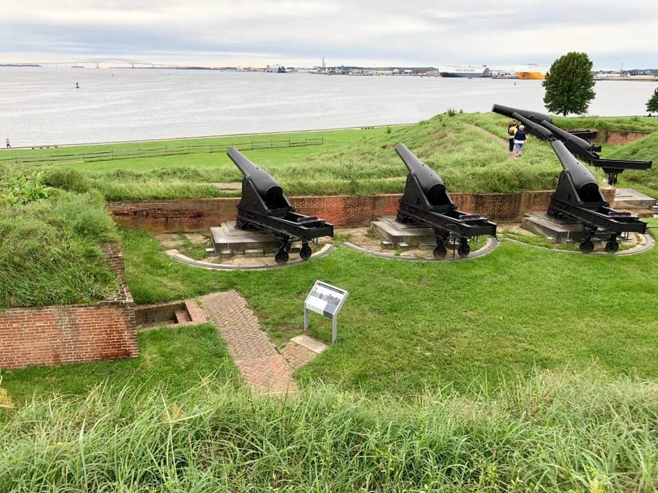 Fort McHenry's cannons overlooking the Patapsco River, which leads into Baltimore Harbor.