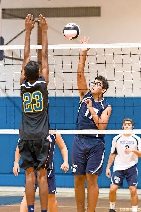 Mitchell Shemtov delivered a smash for Hewlett during its come-from-behind 19-25, 12-25, 25-23, 25-23, 15-10 win over Lawrence on Oct. 4.