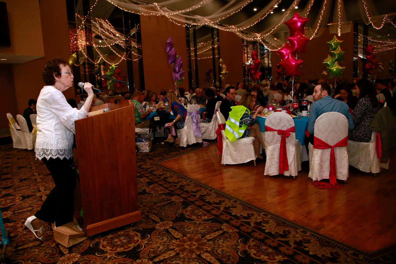 Oceanside resident Renee Klein addressed the audience at her annual fundraiser, which honors the Bernard Klein Charity Fund, named in memory of her late husband.