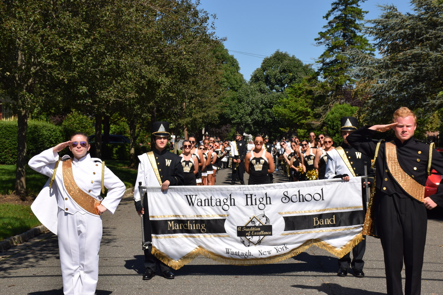 The Wantagh High School marching band led the homecoming parade with drum majors Katherine Proscia, left, and James Seaman.