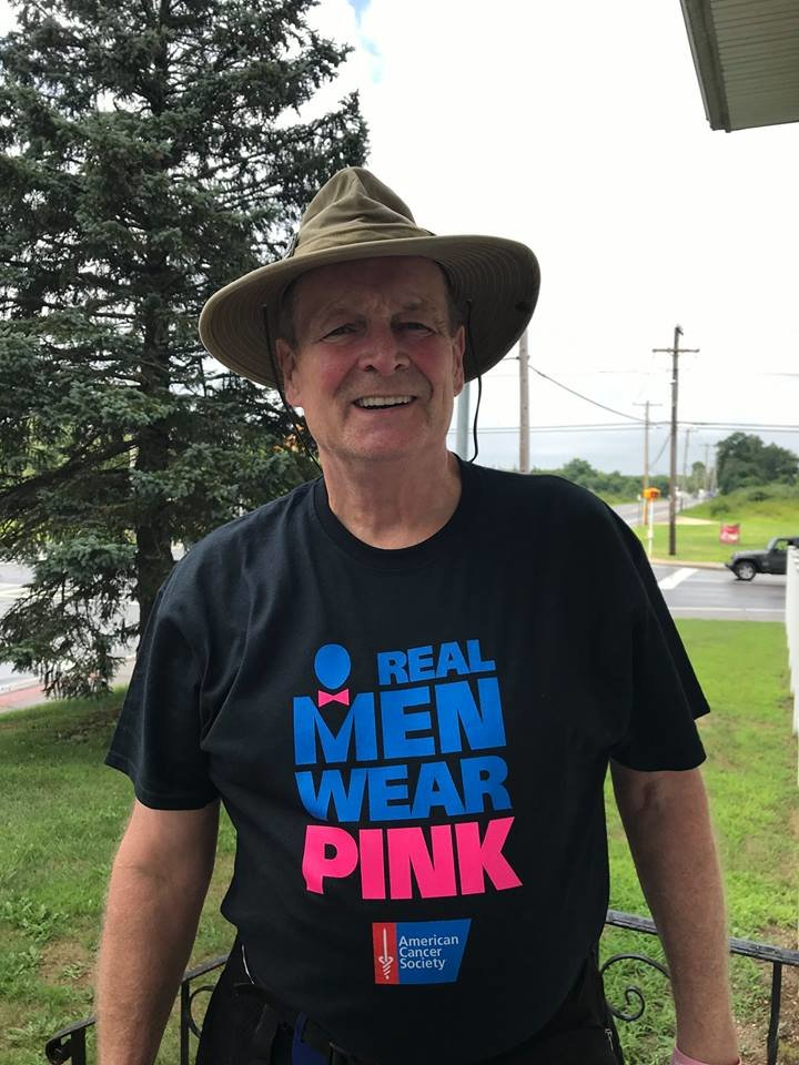 Paul Gruol in his Real Men Wear Pink shirt, which he is selling to raise funds for breast cancer research.