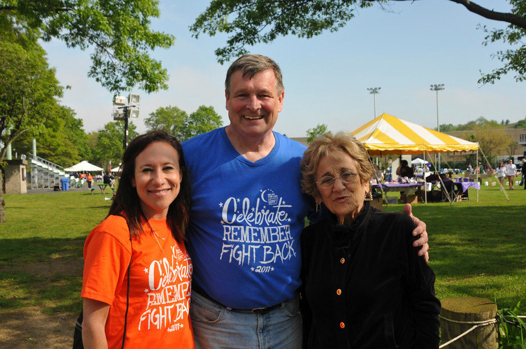Paul Gruol, with Hildy Teplitz, left, who organized the 2011 Bellmore-Merrick Relay for Life, and former Hempstead Town Councilwoman Angie Cullin.